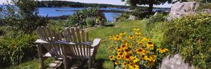 Two Adirondack Chairs in a Garden, Peaks Island, Casco Bay, Maine, USA