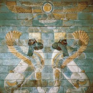 Two Androcephalic Sphynxes or Lions under the Great God Ahura Mazda