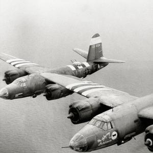 Two B26 Marauder Bombers of the 9th Air Force in Flight, Normandy, France, July 1944