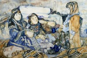 Two Bedouins Drinking Tea, Watercolor by Soubhi Abdul Naef from Countryside around Euphrates