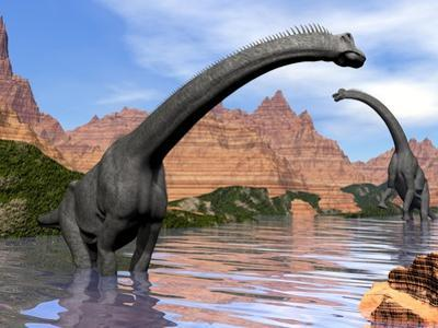 Two Brachiosaurus Dinosaurs in Water Next to Red Rock Mountains