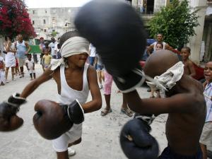Two Cuban Boys Show Their Boxing Skills