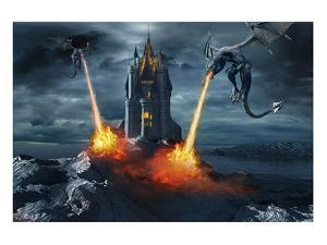 Two Dragons Attacking a Castle