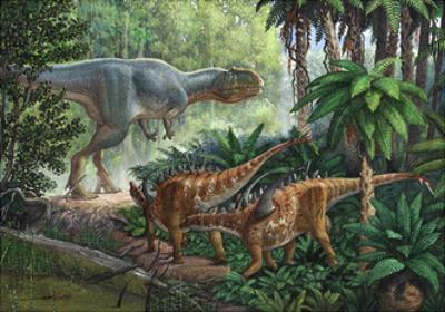 Two Gigantspinosaurus Fearful at the Sight of a Large Yangchuanosaurus.
