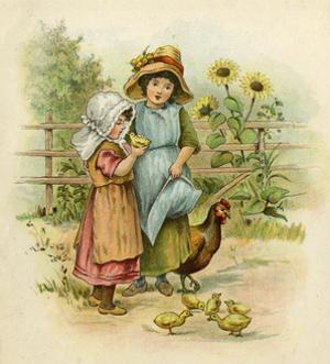Two Girls with their Chickens