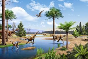 Two Herrerasaurus Dinosaurs Chasing a Silesaurus Down a Stream