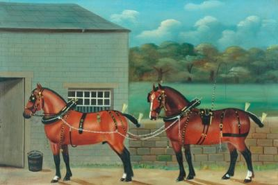 Two Horses in Harness, c.1910