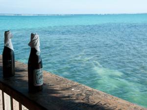 Two Local Beers on Ledge at Popular Bar, Palapa Bar, San Pedro