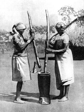 Two Mashona Tribeswomen Pounding Maize and Millet, Zimbabwe, Africa, 1936