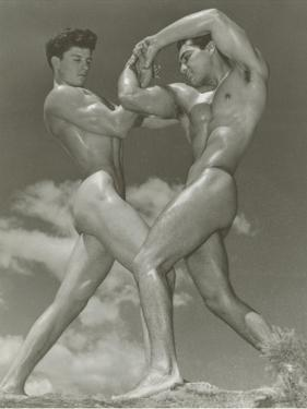 Two Naked Muscle Men Wrestling
