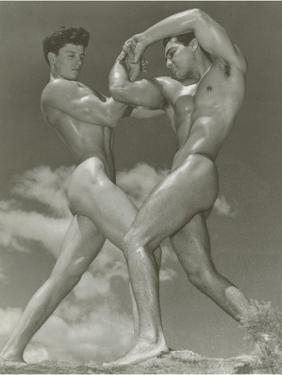 Two Naked Muscle Men Wrestling