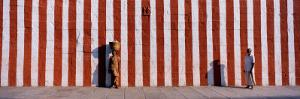 Two People Standing Outside a Temple, Tamil Nadu, India