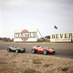 Two Racing Cars Taking a Bend, Dutch Grand Prix, Zandvoort, Holland, 1959