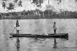 Two Seminole Indians Pole a Canoe on the Miami River, C.1895