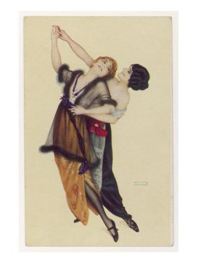 Two Stylishly Dressed Ladies Dance the Tango Stylishly Together