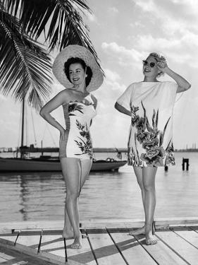 Two Women Model Catalina Beach Wear on Location in Miami Beach, December 26, 1950