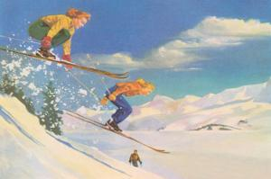 Two Women on Skis Leaping over the Snow