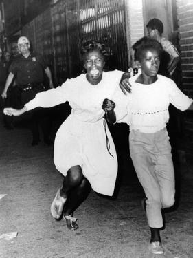 Two Young African Americans Girls, Screaming During Riots in Bedford-Stuyvesant Section of Brooklyn