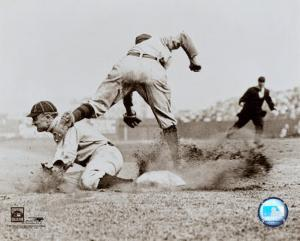 Ty Cobb - Sliding into base, sepia