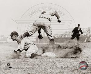 Ty Cobb - Sliding into base, sepia