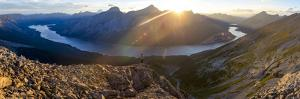 Epic panorama view of Spray Lakes at sunset from mountain peak, Alberta, Canada, North America by Tyler Lillico