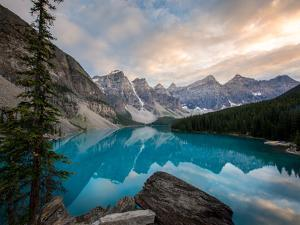 Moraine Lake at sunset in the Canadian Rockies, Banff National Park, UNESCO World Heritage Site, Al by Tyler Lillico