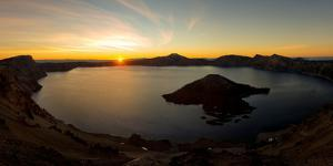 Panorama of sunrise at Crater Lake, Oregon,  United States of America, North America by Tyler Lillico