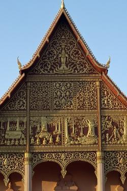 Tympanum Decorated, Wat That Luang Neua Pagoda, Vientiane (Viangchan), Laos, 20th Century