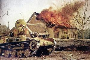 Type 97 Te-Ke Tankette And A Japanese Soldier Next To A Burning House (China 1941)