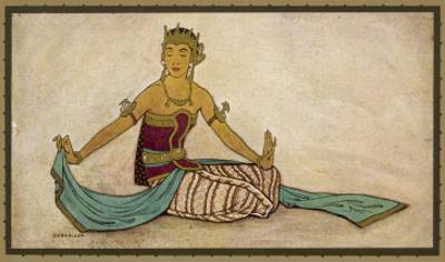 Javanese Dancer Performing the Female Style in a Seated Pose