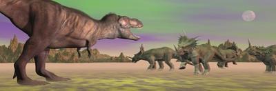 Tyrannosaurus Attacking Styracosaurus Dinosaurs