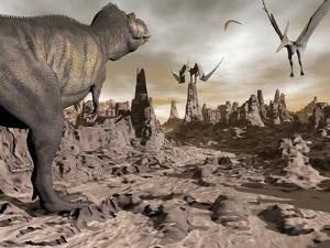 Tyrannosaurus Rex Dinosaur and Pteranodons on a Rocky Desert Landscape