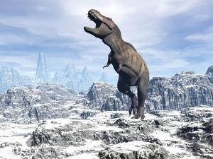 Tyrannosaurus Rex Dinosaur in a Snowy Landscape