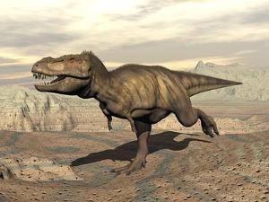 Tyrannosaurus Rex Dinosaur Running across Rocky Terrain
