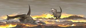 Tyrannosaurus Rex Dinosaurs Dying from a Big Meteorite Crash