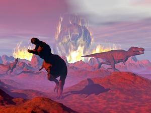 Tyrannosaurus Rex Dinosaurs Escaping a Big Meteorite Crash