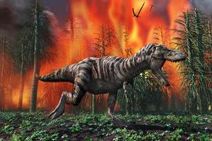 Tyrannosaurus Rex Fleeing from a Deadly Forest Fire