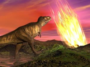 Tyrannosaurus Rex Observes a Meteorite Crashing into Earth