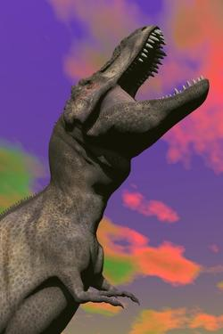 Tyrannosaurus Rex Roaring Against a Colorful Sky