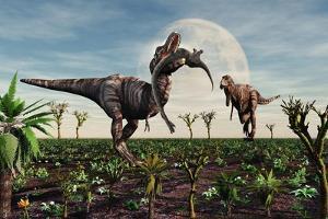 Tyrannosaurus Rex with a Freshly Killed Young Sauropod Dinosaur