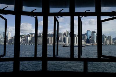 Hong Kong City Skyline Seen Through Window