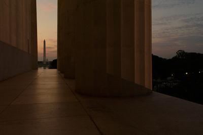Washington Monument and Capitol Building Seen from the Lincoln Memorial