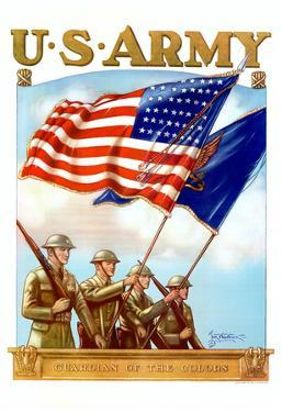 U.S. Army Guardian of the Colors WWII War Propaganda Art Print Poster