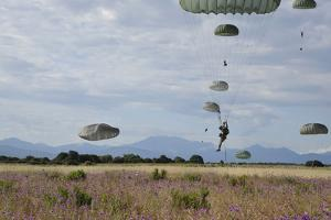 U.S. Army Paratroopers Descend to a Drop Zone in France