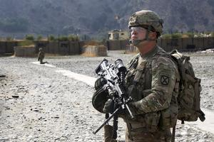 U.S. Army Soldier Provides Overwatch at an Airfield in Afghanistan