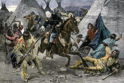 U.S. Cavalry Attacking a Sioux Indian Village, c.1800