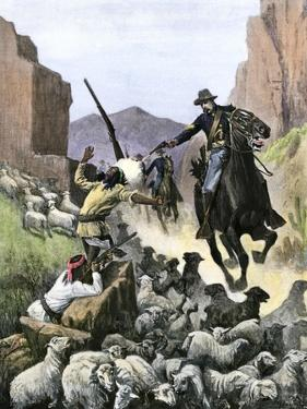 U.S. Cavalry Soldier Shooting Apache Sheep-Herders in a Canyon