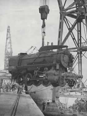 U.S. Locomotives Being Unloaded at Tunis, 1943