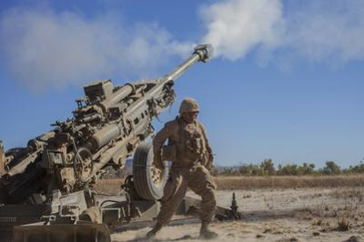 U.S. Marine Fires an M777A2 Howitzer