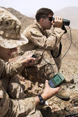 U.S. Marines Gauge Distances of Targets While Training